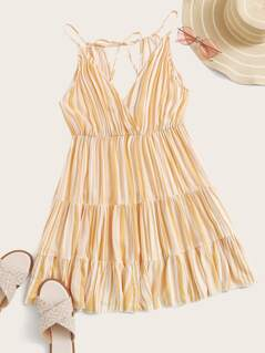 Plunge Neck Tassel Tie Back Striped Tiered Dress