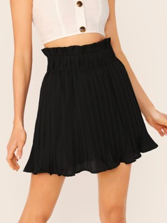 Elastic Waist Wavy Hem Pleated Shorts