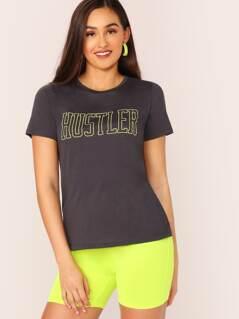 Neon Letter Print Short Sleeve T-Shirt