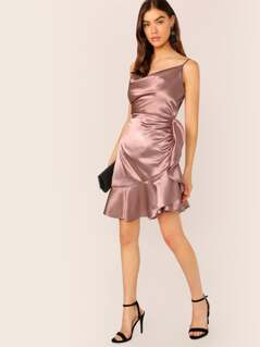 Satin Cowl Neck Ruffle Hem Sleeveless Dress