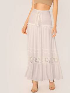 Lace Up Smocked Waist Lace Trim Maxi Skirt