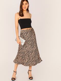 Flounce Hem Zebra Print Satin Midi Skirt