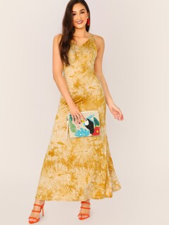 V-Neck Spaghetti Strap Tie Dye Jersey Maxi Dress