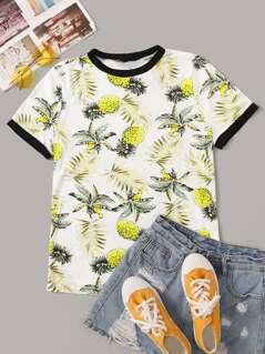 Leaf & Pineapple Print Ringer Tee