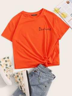 Neon Orange Letter Print Tee