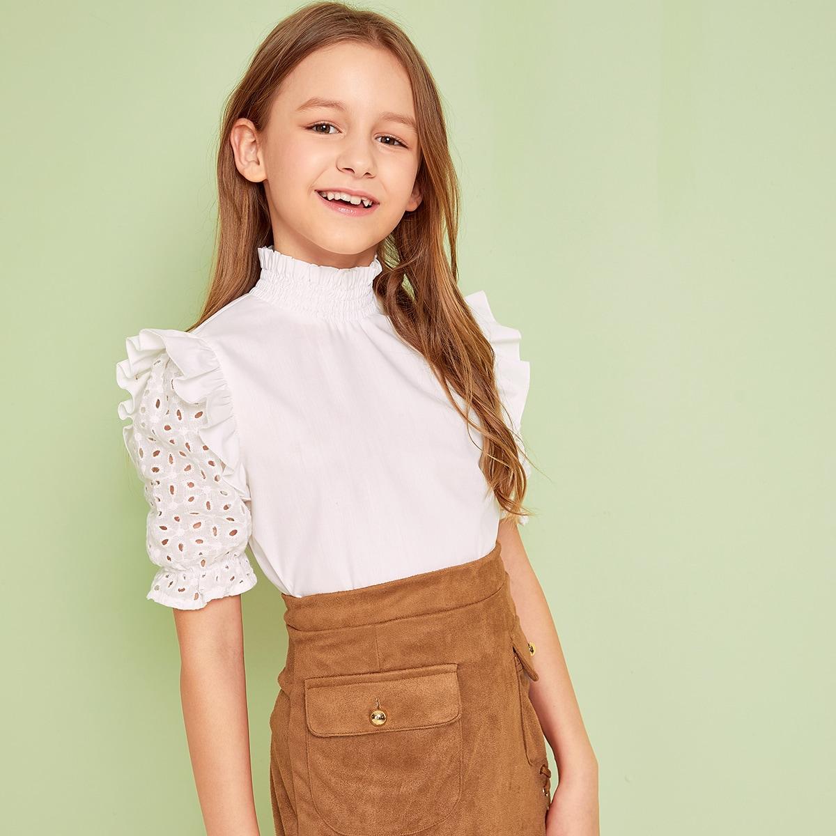 Блуза С Рукавом Из Кружевного Шитья, Оборкой И Воротником-Стойка Для Девочек от SHEIN