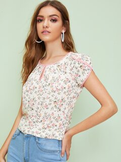 Keyhole Front Contrast Binding Ditsy Floral Print Top