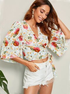 Flower Print Pleated Sleeve Wrap Knotted Blouse