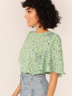 Keyhole Back Flutter Sleeve Ditsy Floral Top
