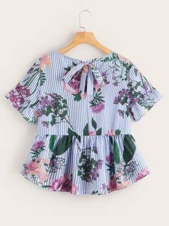 Floral and Striped Tie Back Smock Top