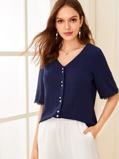 Button Front Lace Trim Blouse