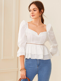 Sweetheart Neck Ruffle Trim Layered Peplum Top