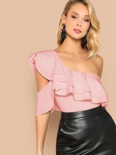 One Shoulder Backless Layered Ruffle Bodysuit