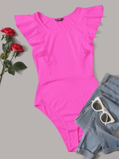 Neon Pink Ruffle Trim Bodysuit