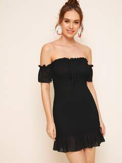 Tie Neck Frill Trim Shirred Bardot Dress
