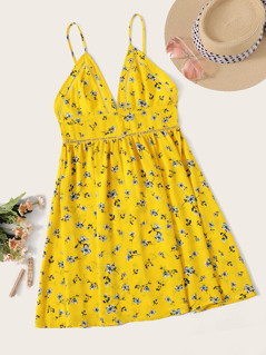 Neon Yellow Strappy Insert Ditsy Floral Sundress