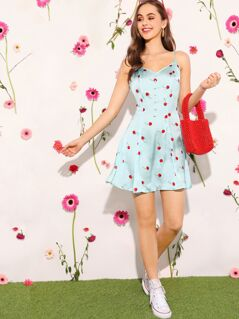 Cherry Print Button Front Satin Slip Dress
