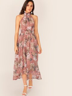 Asymmetrical Hem Shirred Waist & Halter Floral Dress