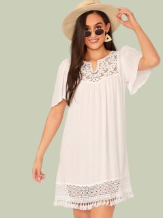 Lace Insert Tassel Hem Tunic Dress