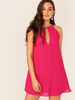 O-ring Detail Tie Back Swing Dress