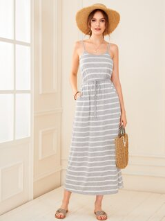 Striped Print Drawstring Waist Slip Dress