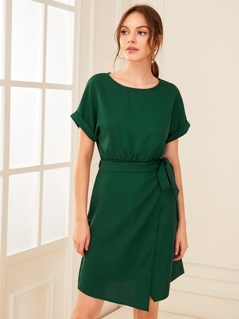 Solid Roll Up Sleeve Wrap Knotted Dress