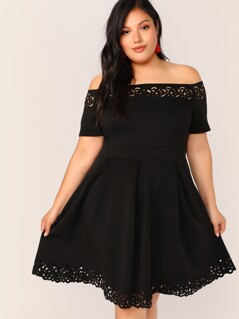Plus Off Shoulder Laser Cut Fit and Flare Dress