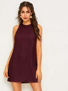 Solid Keyhole Back Dress