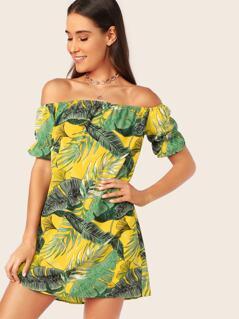 Jungle Leaf Print Bardot Tunic Dress
