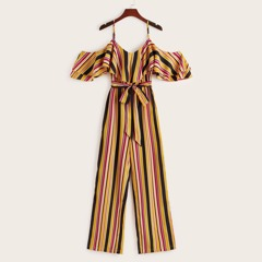 Cold Shoulder Ruffle Foldover Front Striped Jumpsuit