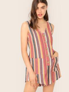 Buttoned Half Placket Pocket Patched Striped Romper