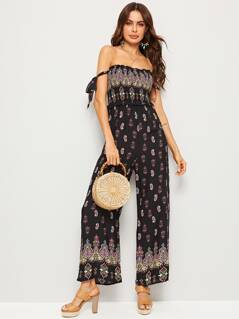 Off Shoulder Frill Trim Shirred Wide Leg Paisley Jumpsuit