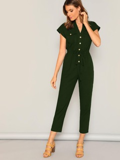Flap Pocket Front Drawstring Waist Utility Jumpsuit