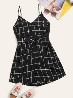 Button Front Self Belted Grid Cami Romper