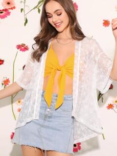 Open Front Sheer Embroidery Mesh Kimono
