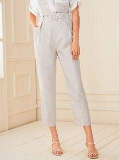 Solid Adjustable Belted Crop Tailored Pants