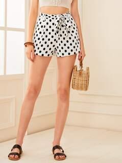 Polka Dot Pocket Side Belted Shorts