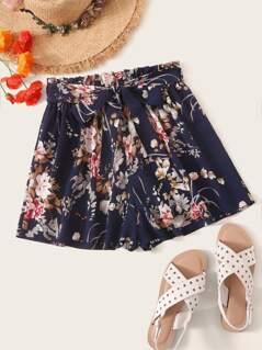 Belted Paperbag Waist Floral Shorts