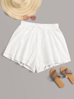 Plus Tie Front Schiffy Shorts