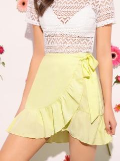Tie Waist Ruffle Wrap Skirt