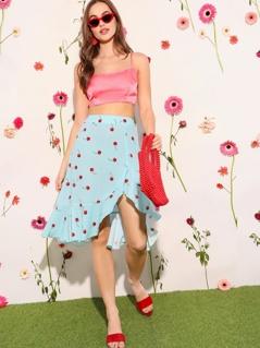 Cherry Print Asymmetrical & Flounce Hem Skirt