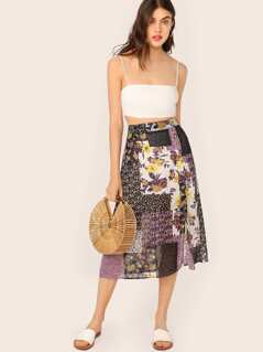 Button Front Patchwork Floral Print Skirt