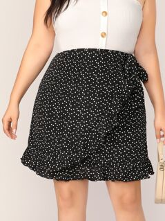 Plus Confetti Heart Print Ruffle Trim Wrap Skirt