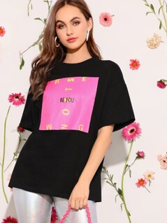Drop Shoulder Letter Print Tee