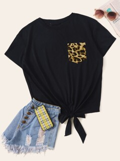 Leopard Patched Knot Hem Tee