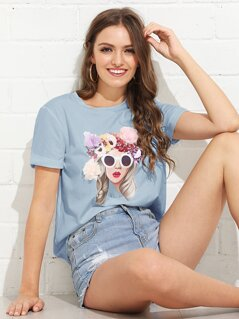 3D Applique Figure Tee