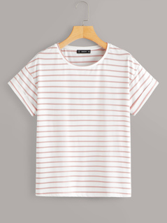 Rolled Cuff Striped Tee