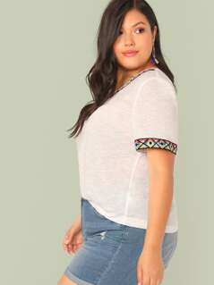Plus V Neck Embroidered Tape Tee