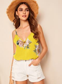 Double V Neck Floral Cami Top