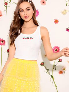 Cherry Print Rib-knit Crop Tank Top